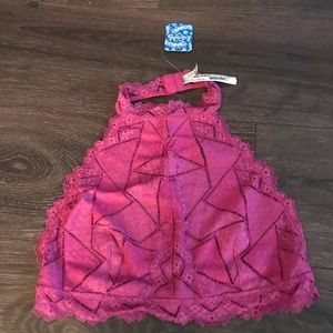 Free People Pink Halter Lace Bralette Size Medium